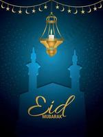 Festival islâmico eid mubarak com lanterna dourada e mesquita sobre fundo azul vetor