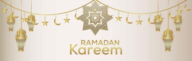 banner ou cabeçalho do festival islâmico ramadan kareem com lanterna dourada vetor