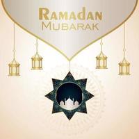 festival islâmico ramadan kareem com ornamentos dourados sobre fundo branco vetor