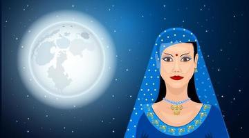 mulher oriental sob a lua vetor