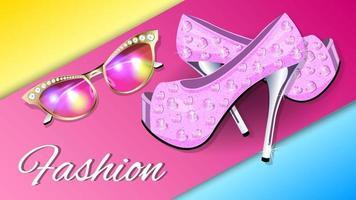 óculos de sol e sapatos de salto alto realistas vetor