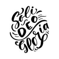 texto de letras de caligrafia de vetor cristão soli deo gloria