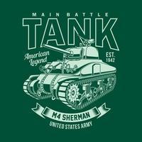 gráfico de vetor vintage americano m4 sherman tanque