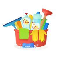 bacia com trapos êmbolo luvas domésticas ferramentas de limpeza serviço de limpeza tarefas domésticas casa rotina conceito estoque ilustração vetorial no estilo cartoon plana isolado no branco vetor