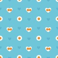 feliz dia dos namorados sem costura padrão azul formato de coração ovos fritos na panela conceito de dia dos namorados feriado de páscoa fundo vetor