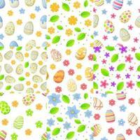 conjunto de padrões sem emenda de primavera com flores e folhas de ovo de páscoa pode ser usado como elemento de caça à páscoa para banners web, cartazes e ilustração vetorial de estoque de texturas em estilo cartoon vetor