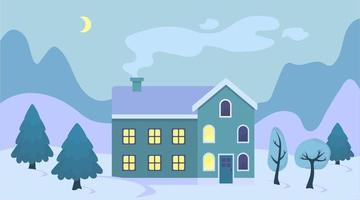bonito dos desenhos animados casa de natal na neve paisagem ilustração paisagem de inverno cidade exterior com árvore de natal e montanhas vetor