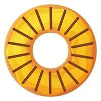 donut brilhante com esmalte sem símbolo de dieta de dia isolado no fundo branco em estilo cartoon vetor