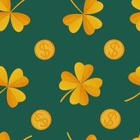 trevo e moedas de ouro padrão sem emenda do dia de São Patrício pode ser usado como ilustração vetorial de estoque de embrulho de textura de tecido em estilo cartoon realista vetor