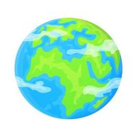 Terra plana planeta clipart bonito dos desenhos animados objeto pode ser usado como símbolo global ecologia conceito estoque ilustração vetorial isolado no fundo branco vetor