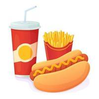saboroso cachorro-quente brilhante com refrigerante e batata frita combo mundo nenhum dia de dieta conceito de fast food insalubre pode ser usado para banner de menu da web vetor