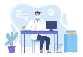 médico com estetoscópio sentado na mesa com monitor medcine pandemia de bloqueio terapia cuidados de saúde hospital espaço de trabalho conceito estoque ilustração vetorial em estilo simples, isolado no branco vetor