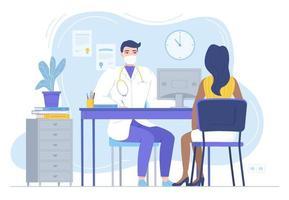 médico na máscara, consultando a paciente do sexo feminino, fisioterapeuta, sentado à mesa com monitor, terapeuta familiar, clínica, área de trabalho, clínica vetor