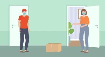 entregador de comida sem contato seguro na máscara trazer a garota do pacote em pé atrás da distância da porta aberta durante a quarentena. vetor