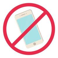 nenhum sinal de telefone smartphone vermelho símbolo de regra proibida desligar telefone não permitido conceito estoque vetor iilustration em estilo cartoon, isolado no branco