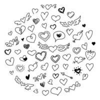 doodle fofo coração definido conceito de amor desenho elementos de design dia dos namorados esboço preto coleção de símbolos românticos isolada no fundo branco em estilo desenhado à mão vetor