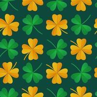 O padrão sem emenda de trevo verde e dourado do dia de São Patrício pode ser usado como ilustração vetorial de estoque de textura de tecido em estilo cartoon realista vetor