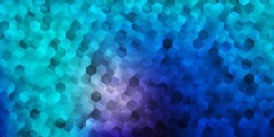 textura vector rosa claro, azul com hexágonos coloridos.