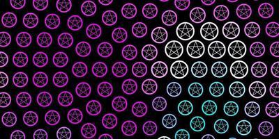 modelo de vetor rosa escuro, azul com sinais esotéricos.