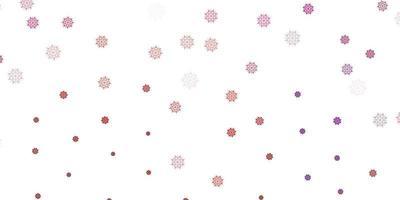 layout de vetor rosa e vermelho claro com lindos flocos de neve.