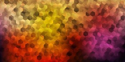 layout de vetor rosa claro, amarelo com formas de hexágonos.