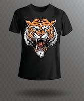 t-shirt elegante com design de tigre vetor