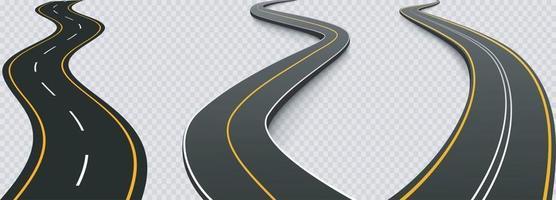 viagem por estrada sinuosa e rota de viagem definida vetor