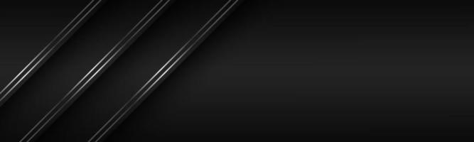 Cabeçalho de material moderno preto com banner de linhas prateadas diagonais para o seu fundo de tela ampla abstrata de vetor de negócios