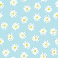 padrão de vetor de flor de camomila sem costura em azul