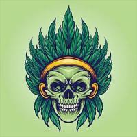 ilustrações do mascote da folha de cannabis do crânio indiano vetor