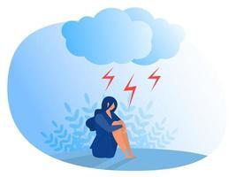 mulher que sofre de depressão, ansiedade, transtorno emocional, ilustração vetorial plana de conceito vetor