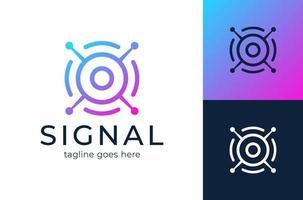 logotipo do sinal logotipo moderno da comunicação do olho de satélite vetor