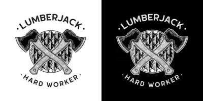 line art ilustração vetorial de machado cortando madeira lenhador adequado para camiseta vetor