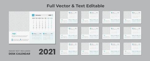 Calendário de mesa 2022 com layout azul calendário de mesa azul 2022 novo calendário de mesa 2021 12 meses incluídos vetor