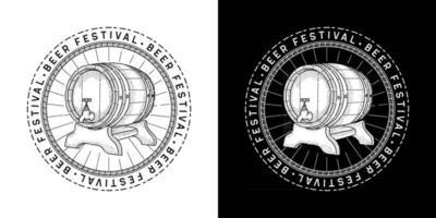 linha arte mão desenhada estilo ilustração vetorial de tambor de cerveja festival de cerveja adequado para camiseta vetor