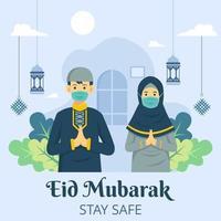 Saudação eid mubarak com uso de máscara evita coronavírus vetor