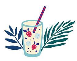 coquetel tropical com morango e gelo criar bebida de verão em folha de palmeira em copo alto com canudos ilustração vetorial de refrigerante moderno bar menu capa flyer design vetor