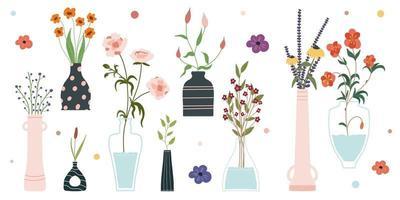 conjunto de flores de primavera brilhante desabrochando em vasos e garrafas isoladas em um fundo branco um monte de buquês conjunto de elementos decorativos de design floral cartoon ilustração vetorial plana vetor