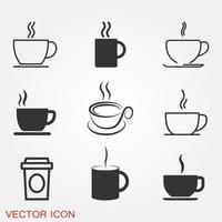 conjunto de ícones de xícara de café vetor