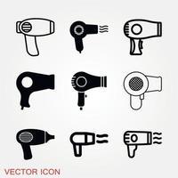 conjunto de ícones de secador de cabelo vetor