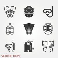 conjunto de ícones de mergulho vetor
