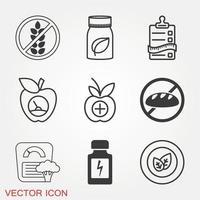 conjunto de ícones dietéticos vetor