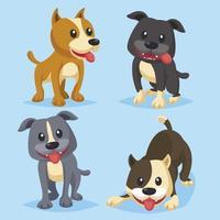 ilustração em vetor coleção plana bulldog desenhada à mão animais fofos pitbull