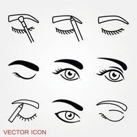 conjunto de ícones de olhos bonitos vetor