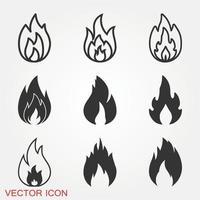 conjunto de ícones de fogo vetor