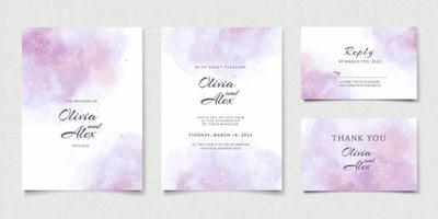 convite de casamento roxo aquarela vetor