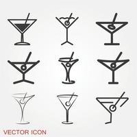 conjunto de ícones de martini vetor