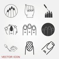 conjunto de ícones de unhas vetor