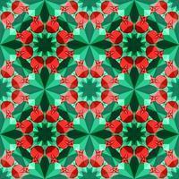 este é um padrão de caleidoscópio de cristal poligonal verde e vermelho na forma de uma romã vetor