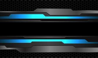 abstrato azul néon cinza metálico cyber preto linha banner no hexágono escuro padrão de malha design moderno futurista tecnologia fundo ilustração vetorial vetor